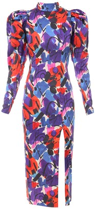 Rotate by Birger Christensen Abstract Print Slit-Detailed Midi Dress