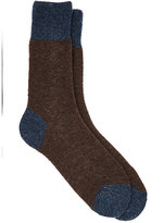 Barneys New York Men's Bouclé Mid-Calf Socks-BROWN