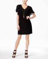 MSK Flutter-Sleeve Tassel Necklace Dress