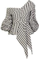 Johanna Ortiz - Santa Rosa One-shoulder Striped Cotton-blend Poplin Top - Army green