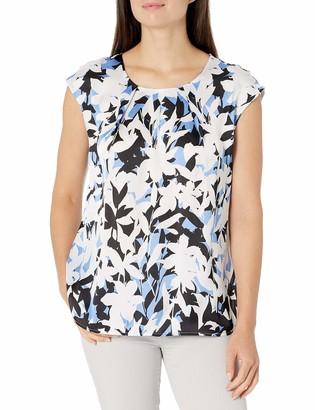 Kasper Women's Bold Floral Printed Satin Chiffon Slit Front Cap Sleeve CAMI