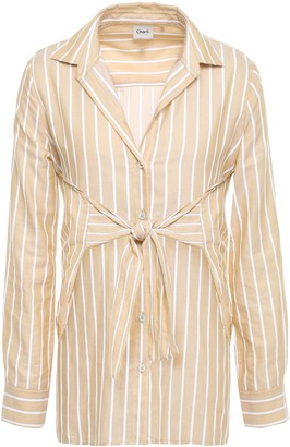Charli Bow-detailed Striped Cotton Shirt