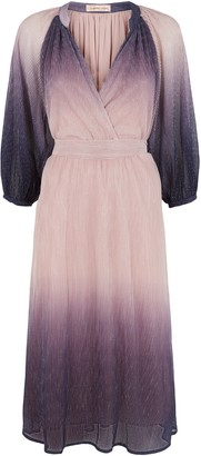 Traffic People Belt Up Midi Two Tone Dress In Purple And Pink