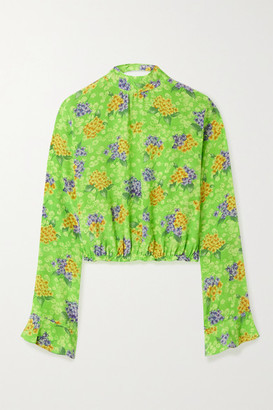 Les Rêveries Open-back Floral-print Silk-crepe Blouse - Green
