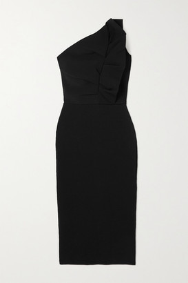 Roland Mouret Raven One-shoulder Ruffled Stretch-knit Midi Dress - Black