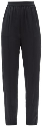 Maison Margiela Zipped-cuff Tuxedo-stripe Satin Tapered Trousers - Black