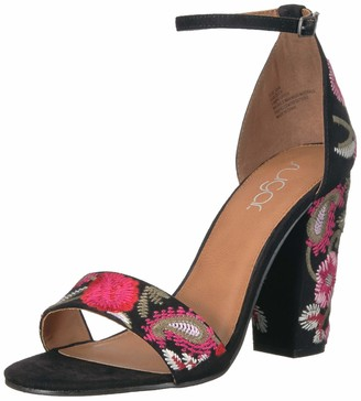 Sugar Women's Slick Floral Embroidered Block Heel Sandal Heeled