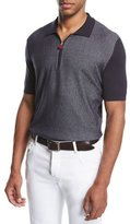 Kiton Nailhead Zip-Front Polo Shirt, Navy