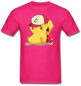 mjensen men tee Male Pokemon Pikachu Customized 100% Cotton White T-Shirt By Mjensen