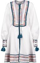 Talitha Kutch Athena Tasseled Embroidered Cotton Mini Dress