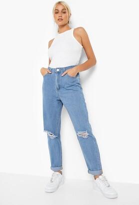 boohoo Mid Rise Distressed Boyfriend Jeans
