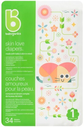 BabyGanics Ultra Absorbent Diapers - Size 1 Bag - 34 Count