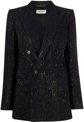 Saint Laurent Metallic Threaded Silk Blazer
