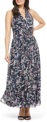 Gal Meets Glam Siena Floral Print Halter Neck Chiffon Maxi Dress