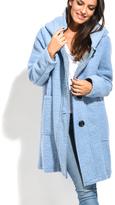 Everest Light Blue Hooded Wool-Blend Coat