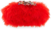 Alexander McQueen Marabou Feather Clutch Bag, Flame Red