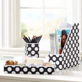Pottery Barn Teen Printed Desk Accessories, Set of 3: Magazine Caddy, Divided Tray and Cup, Black Dottie