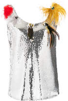 Sonia Rykiel sequin feather detail blouse