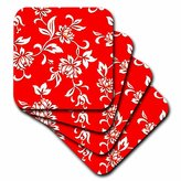 3dRose cst_1064_4 Hibiscus Flower on Red Ceramic Tile Coasters, Set of 8