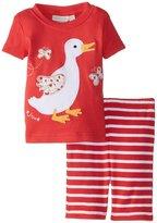 Jo-Jo JoJo Maman Bebe Duck Pj Set (Baby) - Strawberry/White Stripe-12-18 Months