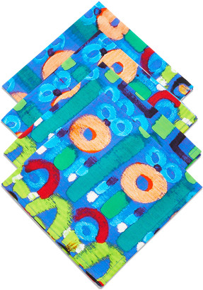 Le Botteghe Su Gologone Set-of-4 Abstract Painted Linen Napkins