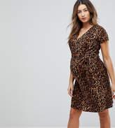 Mama Licious Mama.licious Mamalicious Leopard Wrap Dress