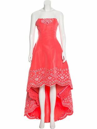 Oscar de la Renta Silk Embellished Gown Pink