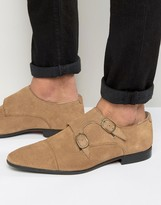 Asos Monk Shoes In Stone Suede