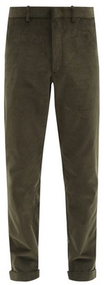 Caruso Slim-leg Cotton-blend Corduroy Trousers - Dark Green