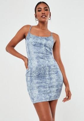 Missguided Blue Snake Print Stretch Satin Bodycon Mini Dress