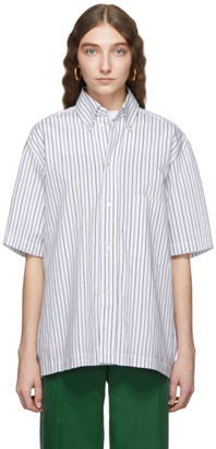 Plan C Blue and White Striped Shirt