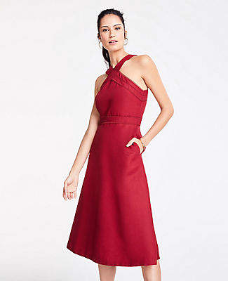 Ann Taylor Halter Midi Flare Dress