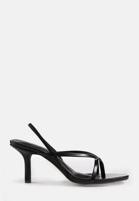 Missguided Black Slingback Toe Post Mid Heel Sandals