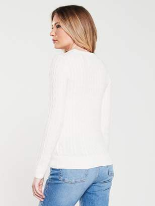 Jack Wills Tinsbury Classic Cable Crew - Vintage White