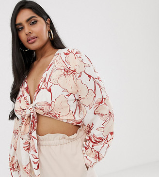 Lasula Plus knot crop crop top in tropical floral print-Multi
