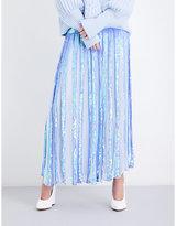 Temperley London Filigree sequinned mid-rise skirt