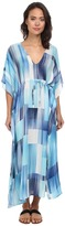 Echo Waterfall Blocks Silk Dress Cover-Up