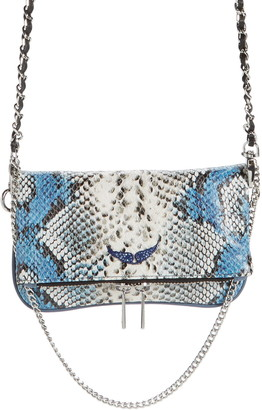 Zadig & Voltaire Nano Rock Snake Embossed Leather Crossbody Bag