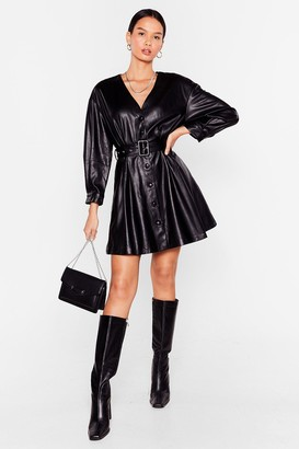 Nasty Gal Womens Faux Leather Without You Belted Mini Dress - Black