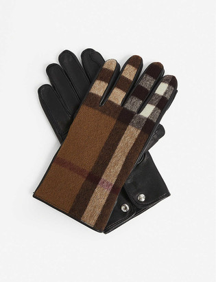Burberry Gabriel Icon check wool and leather gloves