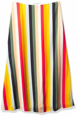 Cupcakes And Cashmere Women's Pippa Multi Stripe Soft Satin Midi Skirt 6