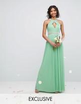 TFNC Wedding High Neck Maxi Dress With Pleat Detail