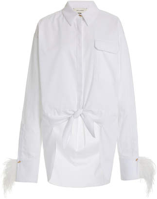 Hellessy Tatiana Feather-Trimmed Cotton-Blend Oxford Shirt