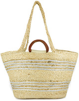 Magid Women's Handbags SILVER - Natural & Silver Stripe Woven Tote