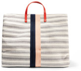 Clare Vivier Simple Textured Leather-trimmed Striped Canvas Tote - Cream