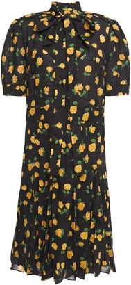 Michael Kors Pussy-bow Floral-print Crepe Dress