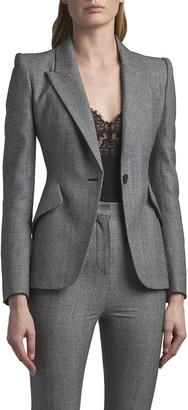 Alexander McQueen Peak-Shoulder One-Button Check Jacket