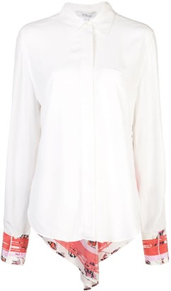 Derek Lam 10 Crosby Contrast Floral Panel Shirt