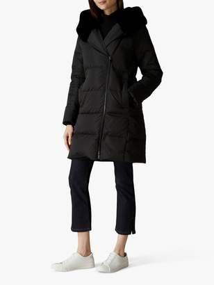 Jaeger Faux Fur Hood Coat, Black