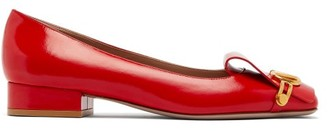Valentino Vclub Logo-plaque Patent-leather Pumps - Womens - Red